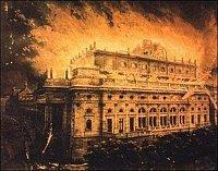Fotografie budovy, pořízená F. Fridrichem po požáru, na niž byl barevně přimalován požár a přihlížej
