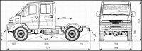 Rozměrový náčrt typu SMT s dvojitou kabinou.