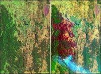 Část Austrálie v roce 2002 před požáry a v roce 2003 při požáru.
