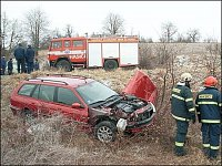 První Mercedes při zásahu...