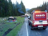 loňská nehoda Nissanu - foto hasiči Železná Ruda
