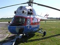 Vrtulník Mi-2 OK-LJR ve zbarvení Slov Airu z konce osmdesátých let. Mi-2 je prvním typem, který v LZ