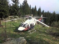 Bell 427 OK-AHB ze stanoviště LZS v Českých Budějovicích při záchranné akci. Foto Ladislav Sobotka,
