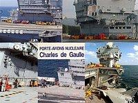 ...to malé červené jsou hasičské vozy na palubě francouzské letadlové lodi...