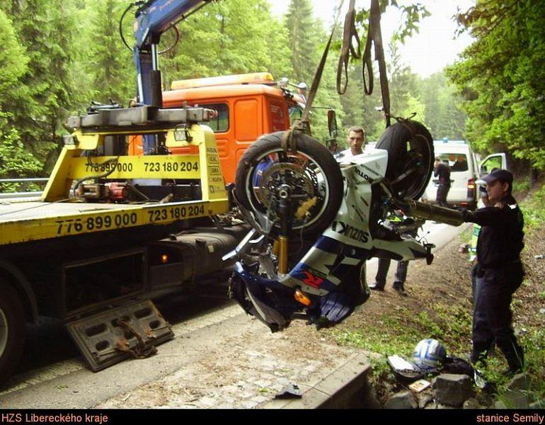 Nehoda motocyklu na Liberecku