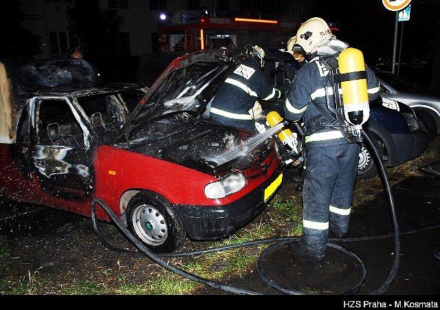 Požár auta-Praha