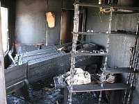 Požár obytného kolového přívěsu u Bojkovic