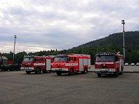 Zleva Terrno JSDH Janovice nad Úhlavou (4700/300 voda/pěnidlo), HS Nošovice a HZSP Tatra