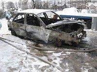 Požár auta v garáři v obci Niva