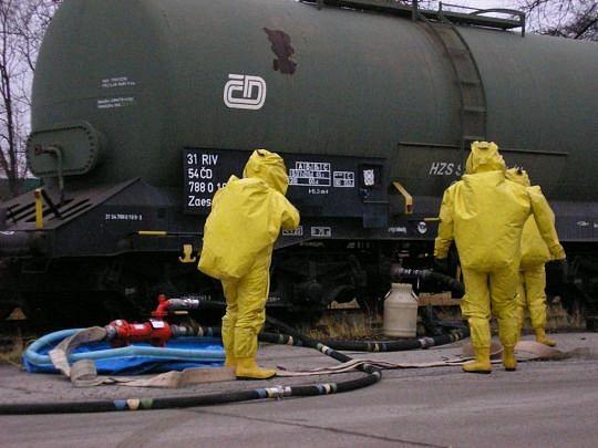 Únik nebezpečné látky z železniční cisterny  483bf2e6dcf