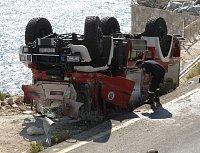 takto skončil jeden z chorvatských Unimogů s nástavbou Rosenbauer...
