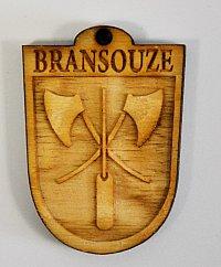 Dřevěný odznak se symboly obce či hasičského sboru