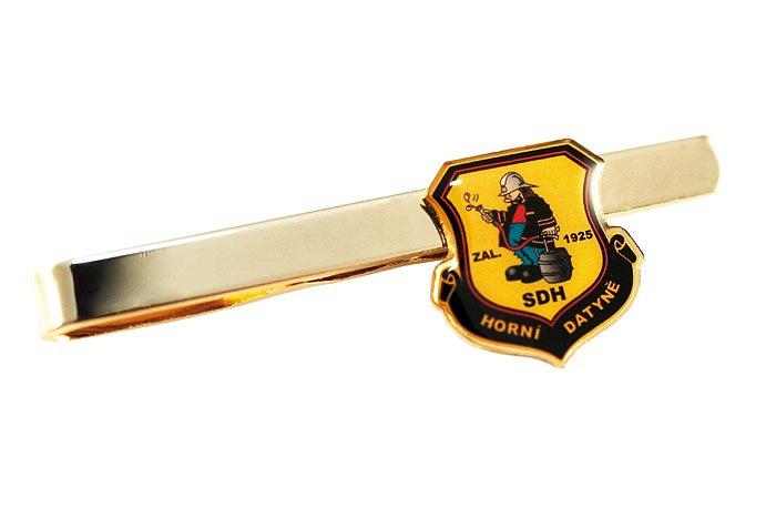 Hasičská kravatová spona s barevným znakem sboru