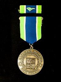 Kompletní medaile s dlouhou závěsnou stuhou a klopovou stužkou