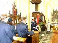Žehnání a následné rozvinutí praporu SDH Otaslavice. Oslavy proběhly ke 130. výročí založení sboru.
