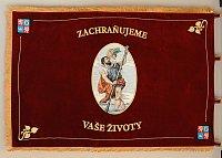 Rub vyšívaného sametového praporu Zdravotnické záchranné služby Královéhradeckého kraje, 100 × 150 cm.