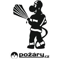 Samolepka POŽÁRY.cz - s kresleným hasičem
