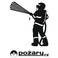 Samolepka POŽÁRY.cz - se standardním hasičem